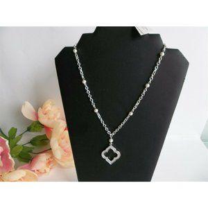WHBM Necklace Swarovski Crystal Silver Tone Chain